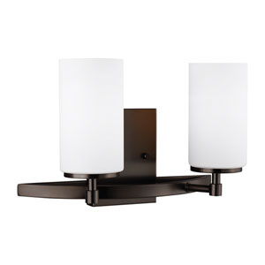Nicollet Oil Rubbed Bronze Two-Light Bath Vanity Title 24