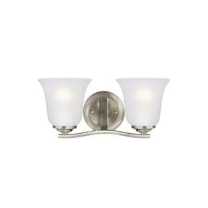 James Brushed Nickel 14-Inch Two-Light Bath Light