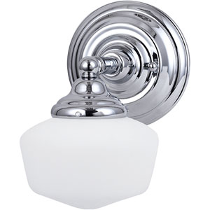 Russell Chrome One-Light Wall Mounted Bath Fixture with Satin White Schoolhouse Glass