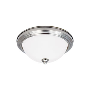 James Brushed Nickel Energy Star 13-Inch Two-Light LED Flush Mount with Satin Etched Glass