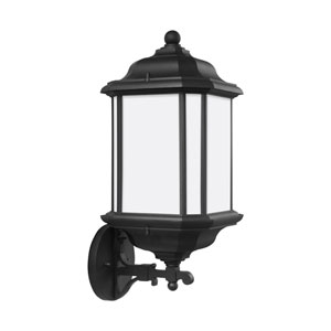 Preston Black 8.5-Inch One-Light Outdoor Bottom Base Wall Sconce