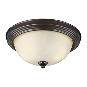 James Sienna 13-Inch LED Flush Mount with Amber Scavo Glass