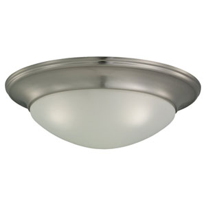 Bryant Three-Light Brushed Nickel Flush Mount with Satin Etched Glass