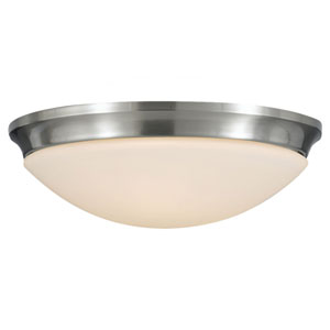 Evelyn Brushed Steel Three-Light Indoor Flush Mount Fixture
