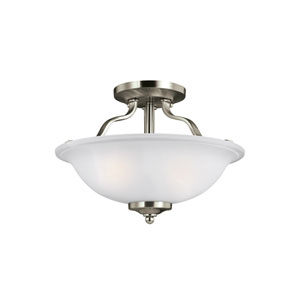 James Brushed Nickel 13-Inch Two-Light Semi-Flush Mount