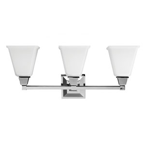 Aster Chrome Three Light Bathroom Vanity Fixture with Etched Glass Painted White Inside