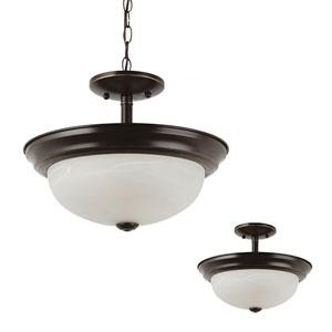 Webster Bronze Two-Light Semi-Flush Convertible Pendant