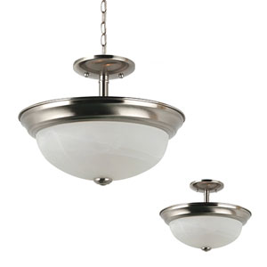 Webster Brushed Nickel Two-Light Semi-Flush Convertible Pendant