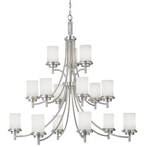 York Brushed Nickel 15-Light Chandelier with Satin EtchedGlass