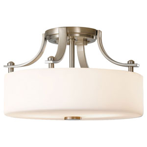 Nicollet Drive Brushed Steel Two-Light Semi-Flush