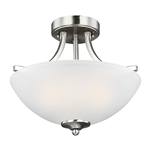 James Brushed Nickel 14-Inch Two-Light Semi Flush Mount
