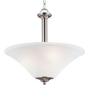 Webster Brushed Nickel Three-Light Up Pendant with Satin Etched Glass
