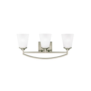 Linden Brushed Nickel Three-Light Bath Fixture