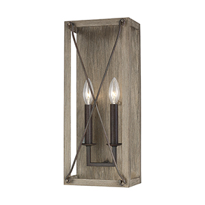 Ash Washed Pine Two-Light Wall Sconce