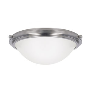 York Brushed Nickel Two Light Medium Fixture Flush Mount with Satin Etched Glass