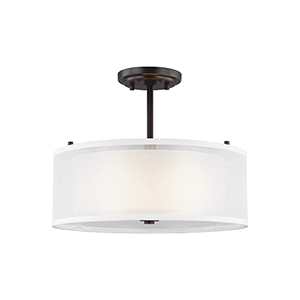 Uptown Bronze Two-Light Semi Flush Mount