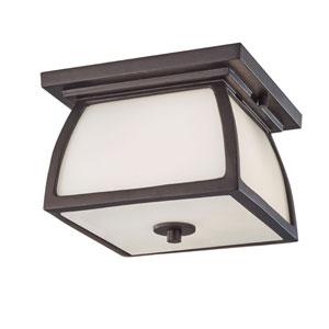 York House Oil Rubbed Bronze Two Light Outdoor Lantern Flush mount