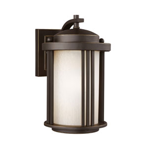 Uptown Antique Bronze Energy Star 10-Inch LED Outdoor Wall Lantern with Creme Parchment Glass