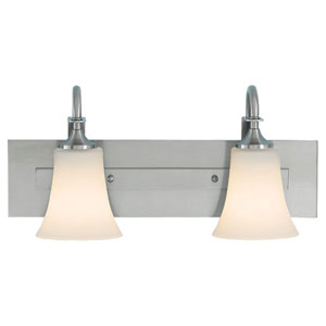 Evelyn Brushed Steel Two-Light Vanity Fixture