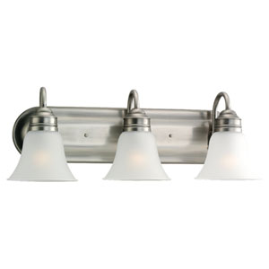 George Antique Brushed Nickel Three-Light Bath Fixture
