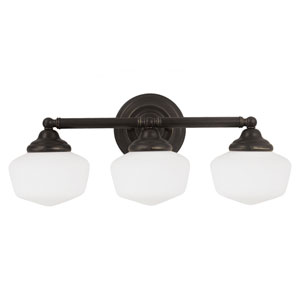 Russell Bronze Three Light Bathroom Vanity Fixture with Satin White Schoolhouse Glass