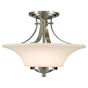 Evelyn Brushed Steel Two-Light Indoor Semi-Flush Mount Fixture