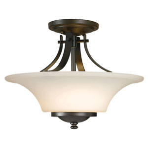 Evelyn Oil Rubbed Bronze Two-Light Indoor Semi-Flush Mount Fixture