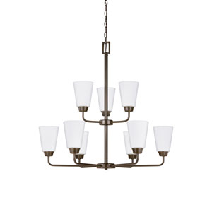 Whitter Bronze 29-Inch Nine-Light Chandelier