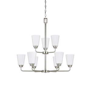 Whitter Brushed Nickel 29-Inch Nine-Light Chandelier