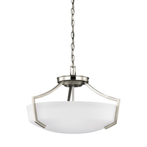 Linden Brushed Nickel Energy Star Three-Light LED Convertible Pendant