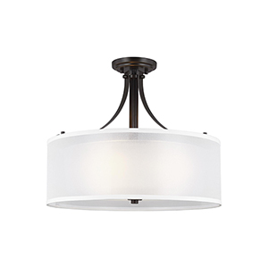 Uptown Bronze Three-Light Semi Flush Mount