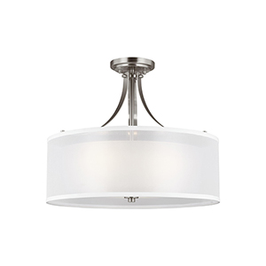 Uptown Brushed Nickel Three-Light Semi Flush Mount