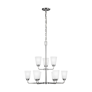 Whitter Chrome 29-Inch Nine-Light Chandelier