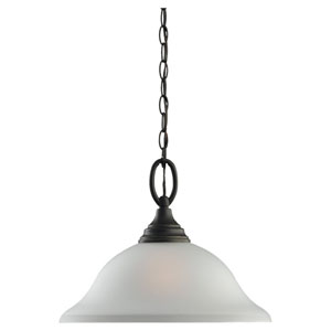 Aster One-Light Bronze Pendant with Satin Etched Glass