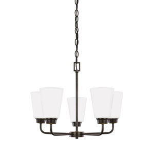 Whitter Bronze Five-Light Chandelier