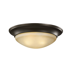 Bryant Bronze 17-Inch LED Flush Mount with Amber Scavo Glass