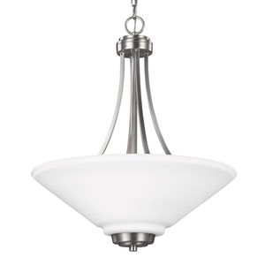 Webster Brushed Nickel Three-Light Up Pendant with Etched Glass