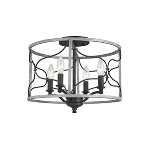 Willow White Wash Four-Light Semi Flush Mount
