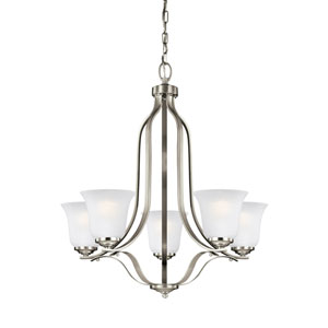 James Brushed Nickel 24-Inch Five-Light Chandelier