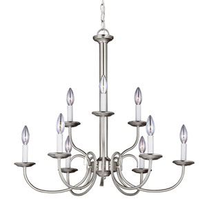 Webster Brushed Nickel Nine-Light Candelabra Chandelier