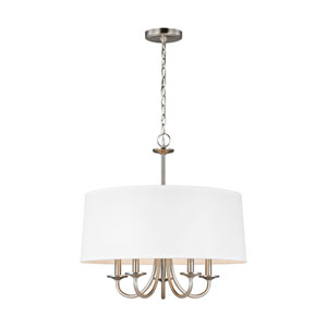Nora Brushed Nickel Five-Light Chandelier Energy Star/Title 24