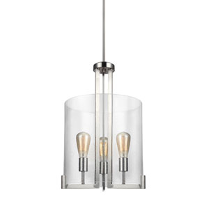 Loring Brushed Nickel 16-Inch Three-Light Pendant