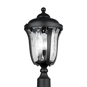Charlotte Black Three-Light Outdoor Post Lantern