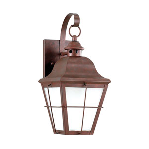 Hazel Weathered Copper Energy Star 15-Inch LED Outdoor Wall Lantern with Frosted Seeded Glass
