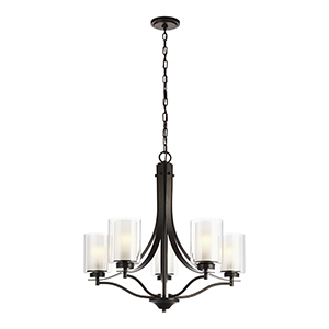 Uptown Bronze Five-Light Chandelier