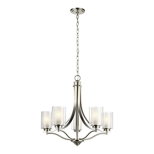 Uptown Brushed Nickel Five-Light Chandelier