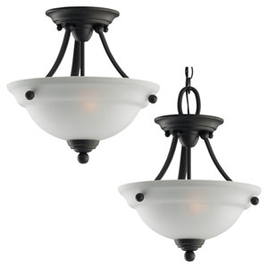Aster Two-Light Bronze Semi-Flush with Satin Etched Glass