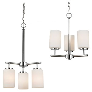 Pax Chrome Three-Light Chandelier with Etched Opal White Glass
