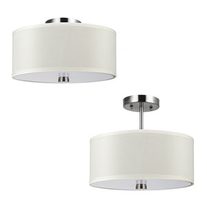 Lyndale Brushed Nickel Two-Light Convertible Semi-Flush Mount with Faux Silk Shade