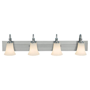 Evelyn Brushed Steel Four-Light Vanity Fixture